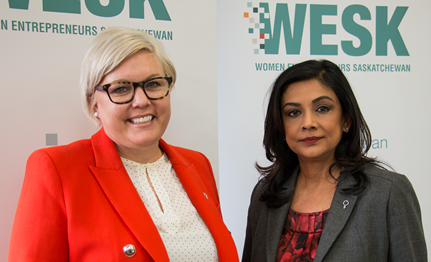 Minister Responsible for the Status of Women Office, Tina Beaudry-Mellor & WESK CEO Prabha Mitchell